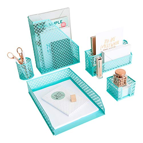 (Aqua - Teal 5 Piece Cute Desk Organizer Set - Desk Organizers and Accessories for Women - Cute Office Desk Accessories - Desktop)