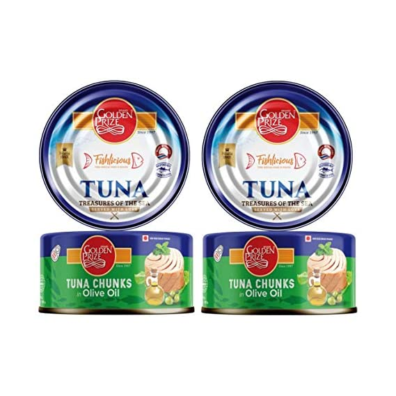 Golden Prize Tuna Chunk in Olive Oil 185Gms Each - Pack of 2 Units