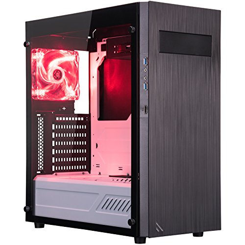 ROSEWILL ATX Mid Tower Gaming Computer Case with Tempered Glass, Computer Gaming Case with window for Desktop/PC including 2x120mm Case Fans, 2xUSB 3.0 ports & HDMI port for VR games, Black/Red/White