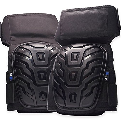RNF Supply Knee Pads for Work - Superior Joint and Knee Pain Protection - Premium Gel & Foam Comfort Pad - Heavy Duty Stay-Put Thigh Straps - Puncture Resistant - Won't Block Circulation (Knee Pads Crane)