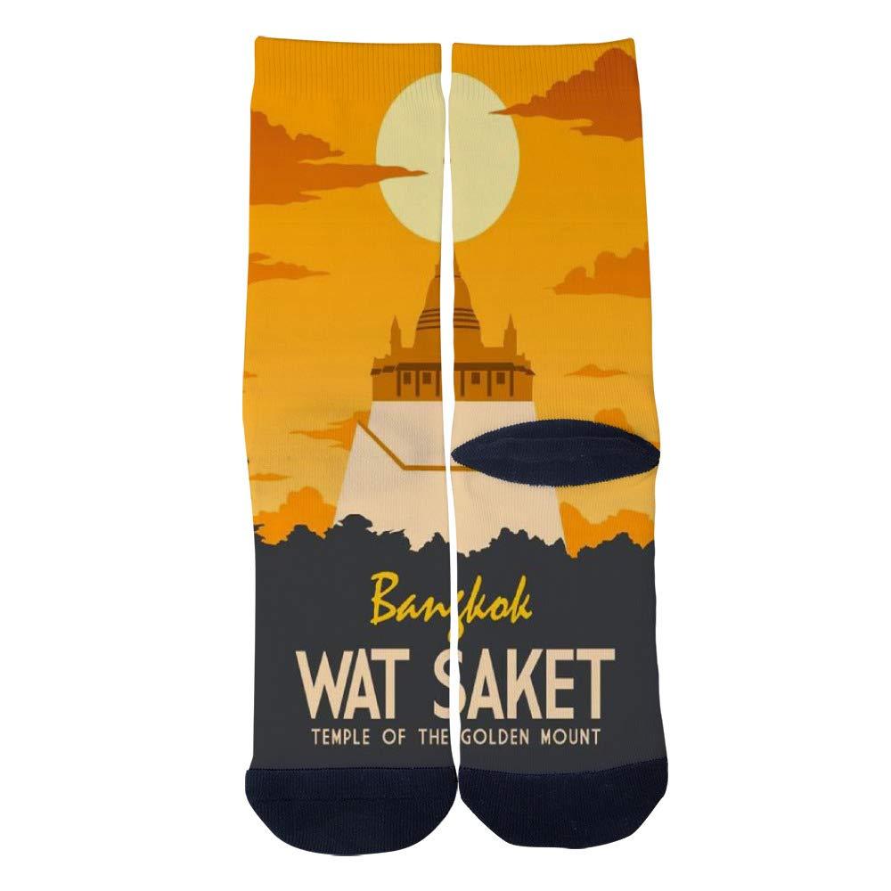 Mens Womens Casual Bangkoks Wat Saket travel poster Socks Crazy Custom Socks Creative Personality Crew Socks