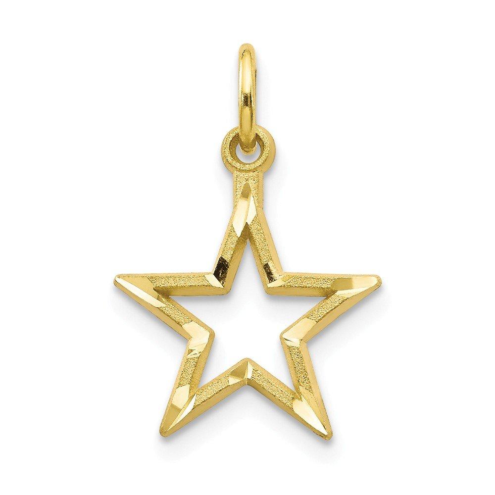 20mm x 11mm Mia Diamonds 10k Yellow Gold Y Diamond-Cut Flat Back Star Charm