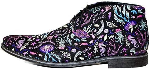 PeppeShoes Modello Pesciro - Handgemachtes Italienisch Bunte Herrenschuhe Lederschuhe Herren Mehrfarbig Stiefeletten Chukka Stiefel - Rindsleder Wildleder - Schnüren  TCQEV