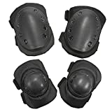 Ezyoutdoor Heavy Duty Knee Elbow Pads Outdoor Protective Pad Set Knee Pads and Elbow Pads Support for Paintball Ski Sports Safe (2 Knee Pad and 2 Elbow Pad )