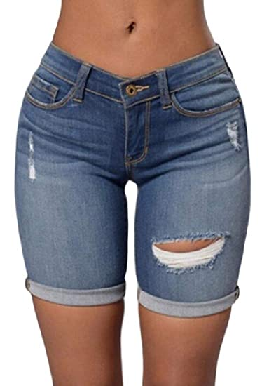 76bc45ca6b BYWX Women Folded Hem Summer High Waist Hole Ripped Distressed Denim Shorts  at Amazon Women's Clothing store: