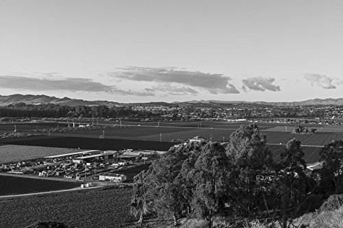 24 x 36 B&W Giclee Print of View of irrigated fields and town structures near Arroyo Grande, along California Highway 1, south of Pismo Beach, California 2013 Highsmith - Near Beaches Pismo