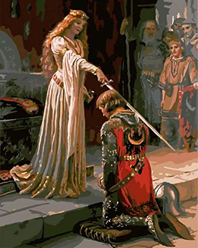 Paintworks Paint by Number Kits DIY Oil Painting Unique Gift-The Accolade Medieval Knight Princess Queen 1620 Inch (Framed)