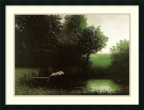 Framed Art Print, 'Diving Pig' by Michael Sowa: Outer Size 34 x 26