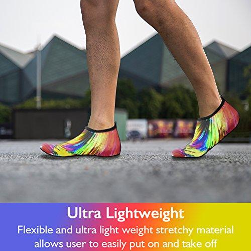 JNDDFAC Men Women Water Shoes Quick Dry Aqua Socks Barefoot Skin Beach Shoes for Swim Yoga Surf-Colorful (S(Women:7-8/Men:6-6.5), Colorful) by JNDDFAC (Image #5)