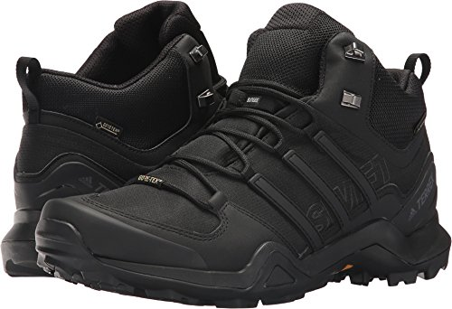 adidas Outdoor Terrex Swift R2 Mid GTX Mens Hiking Boots, (Black on Black on Black), Size 10