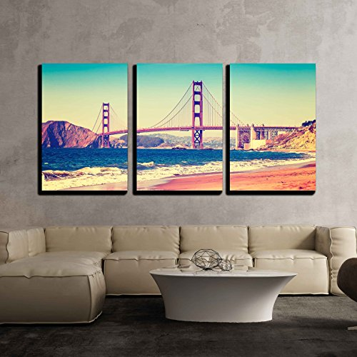 wall26 - 3 Piece Canvas Wall Art - Retro Vintage Stylized Picture of a Highway, Old Film Style, Usa. - Modern Home Decor Stretched and Framed Ready to Hang - 16