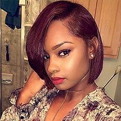Synthetic Lace Front Wigs for Black Women Yaki Hair Heat Resistant Fiber Short Bob Wig Color 99J