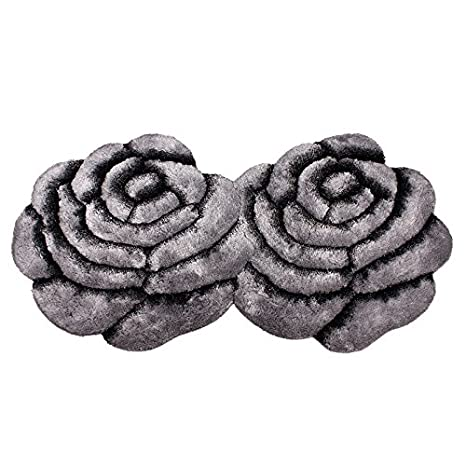 DEFDIANEA 3D three dimensional rose floor mat modern fashion entrance tea room bedside blanket,70*140cm,Rose double flower Beige