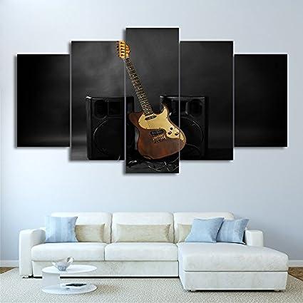 Lienzo moderno HD Arte de pared impreso fotograma póster 5 piezas de música sonido de guitarra