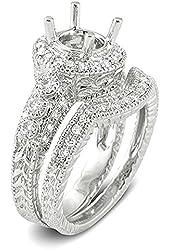 0.70 Carat (Ctw) 14k White Gold Round Diamond Semi Mount Engagement Bridal Ring (No Center Stone)