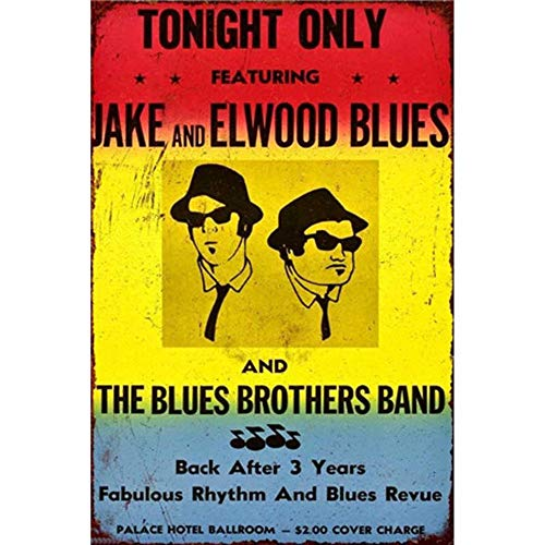 CBTsupply Retro Metal Sign Tonight ONLY Featuring Jake and Elwood Blues and The Blues Brothers Band Vintage Tin Wall Poster Red Yellow Blue 30x20cm