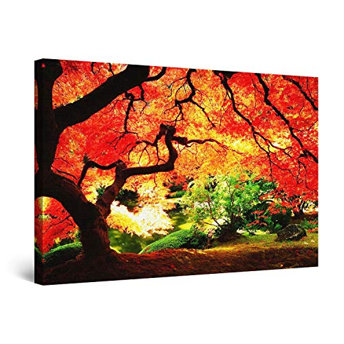"STARTONIGHT Wall Art Canvas Red Maple Nature, Trees Framed Wall Art 24"" x 36"""