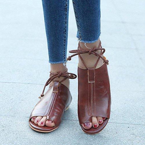 AIMTOPPY HOT Sale Women Cortex Flat-Bottomed Roman Sandals Open Ankle Flat Straps Platform Wedges Shoes (US:7, Brown)