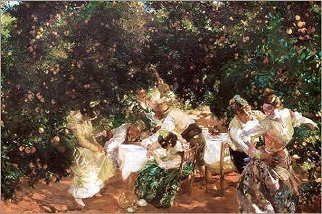 Cuadro de Madera 60 x 40 cm: Under Orange Trees de Joaquín Sorolla y Bastida
