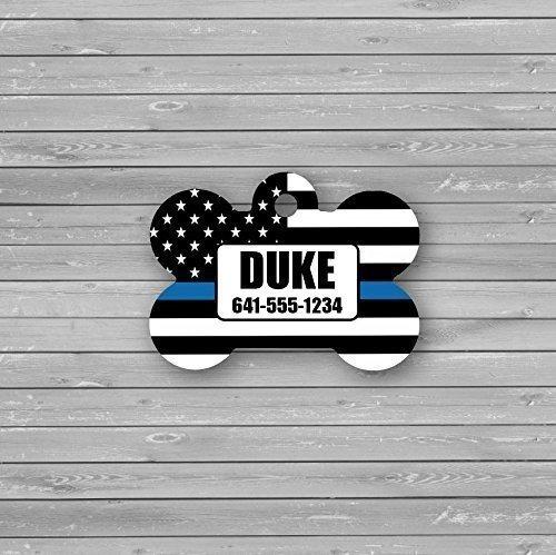 thin blue line personalized dog bone id tag