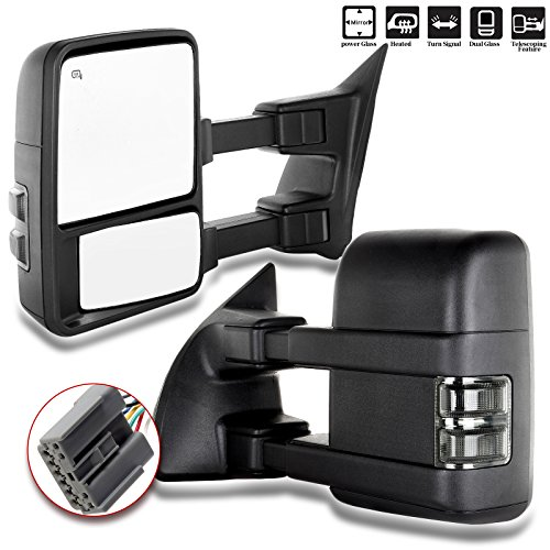 SCITOO Towing Mirrors, fit Ford Exterior Accessories Mirrors fit Ford F250 F350 F450 F550 Super Duty 2003-2007 Signal Power Controlling Heated Convex Glass Manual Folding Telescoping (Pair) ()