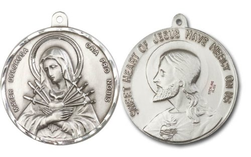 Catholic Medal, Size: 1 1/2 X 1 5/8, Seven Dolors & Sacred Heart of Jesus , No Chain, Loose, Silver, Large Round, Men or Womens Pendant
