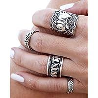 IBobo 4/6Pcs Fashion Women Silver Vintage Jewelry Punk Carve Flower Ring set
