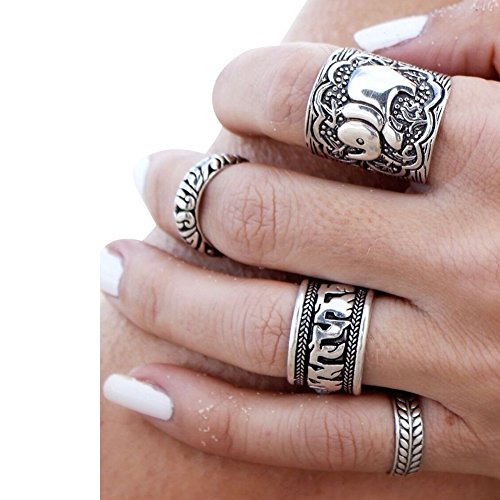 ibobo-4-6pcs-fashion-women-silver-vintage-jewelry-punk-carve-flower-ring-set