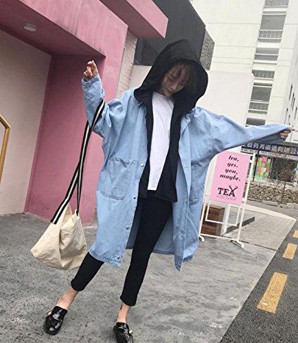 SCOATWWH A Long-Sleeved Female Windbreaker Loose In Long Cowboy Cardigan Female Students Jacket Women'S Coats & Jackets Black