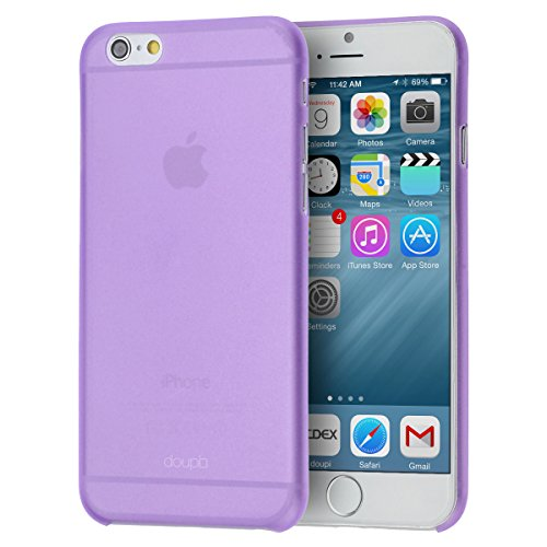 doupi UltraSlim Funda para Apple iPhone 6 6S AllClear Case transparente Morado