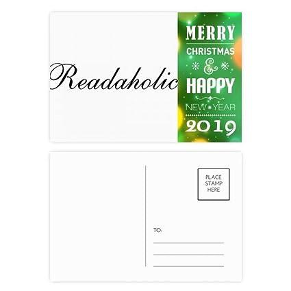 Stylish Word Readaholic 2019 New Year Postcard Thanks Card 20pcs