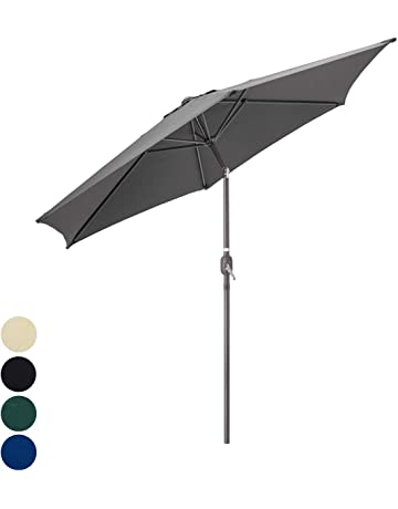 faef778865cd Christow 2.4m 2.7m Garden Parasol Umbrella Crank Tilt Outdoor Sunshade  Aluminium Sun Shade UV