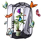 Petforu Insect Butterfly Habitat Cage Collapsible Butterfly House Terrarium Pop-up Open (L Black)