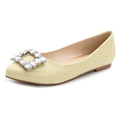 34f2fa58aa475 Xianshu Womens Square Buckle Rhinestones Shallow Mouth Pointed Flat Shoes  (Yellow-39)