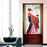 Vintage Japanese Geisha Show Pattern Door Curtain Japanese Noren Curtain Bedroom Doorway Curtain 85cm 140cm