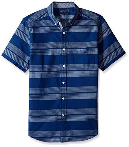 Nautica Mens Short Sleeve Striped Button Down Shirt
