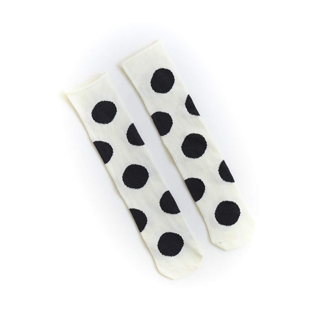 Baby Girls Uniform Knee High Socks Dots Pattern Tube Stockings Infants Toddlers Party School Cotton Long Stockings White