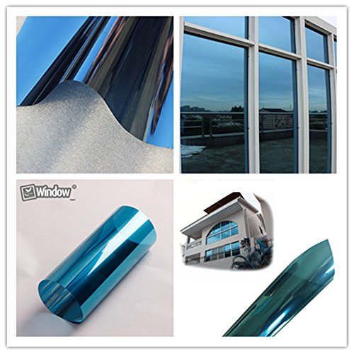 HOHO One Way Mirror Privacy Protection Window Film Glass Tint Heat Control Blue Silver Film(31''x98ft) by HOHO