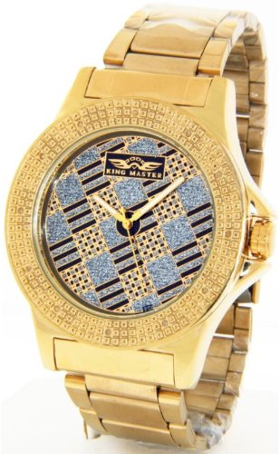 Mens King Master Roulette Table Genuine Diamond Watch 18K Gold Case Metal Band w/ 2 Interchangeable Watch Bands #KM-557 (Super Techno Watches For Men Gold compare prices)