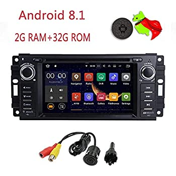 "MCWAUTO Android 8.1 Car Stereo GPS DVD Player Compatible Dodge Ram Challenger Jeep Wrangler JK Head Unit Single Din 6.2"" 2G RAM+32G ROM Indash Radio ..."