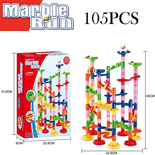 PampasSK Blocks - 105,29pcs DIY Construction Marble Race Run DIY Construction Kids Toy Game Maze Buliding Block Tower Educational Toys 1 PCs