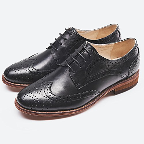 Odema Womens Leather Oxfords Lace Up Low Heel Carving Wingtip Brogue Dress Shoes by Odema (Image #1)