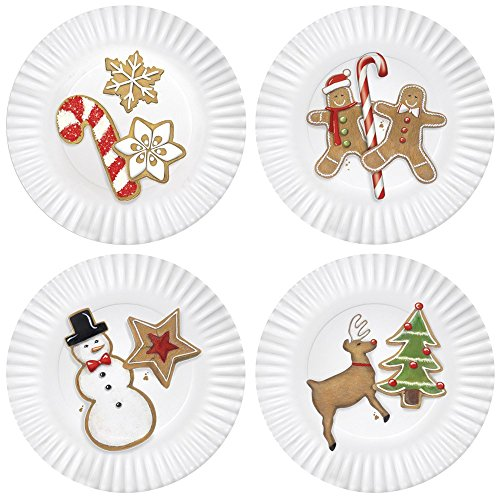 (Christmas Cookies 7.5-inch Melamine Plates, Set of 4)