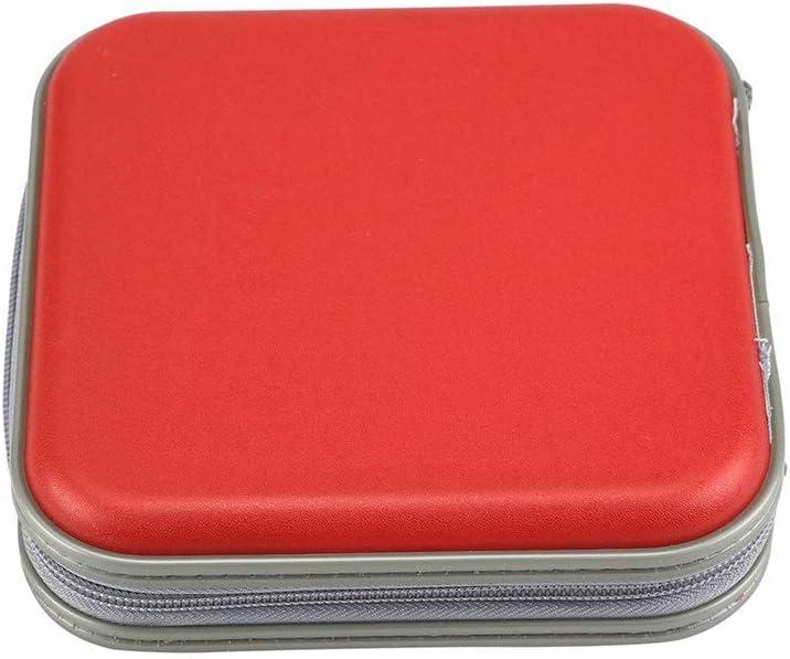 Ogquaton Estuche de CD de Color sólido Portátil 40 Disco CD Organizador Bolsa Música Video Disco Estuche de Transporte CD DVD Titular de Almacenamiento Estuche Bolsa Rojo: Amazon.es: Hogar