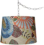 Tropic Drum 16″ Wide Brushed Steel Plug-In Swag Chandelier