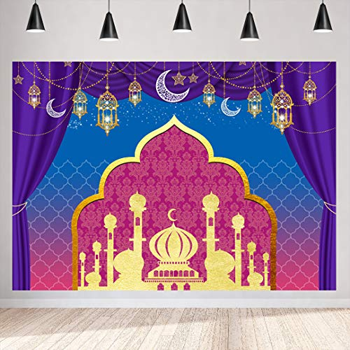 - 7x5ft Arabian Nights Party Themed Backdrop Happy Birthday Magic Genie Photography Background Arabian Nights Moroccan Baby Shower Party Table Decor Sweet 16 Indian Bollywood Photo Booth Backdrops
