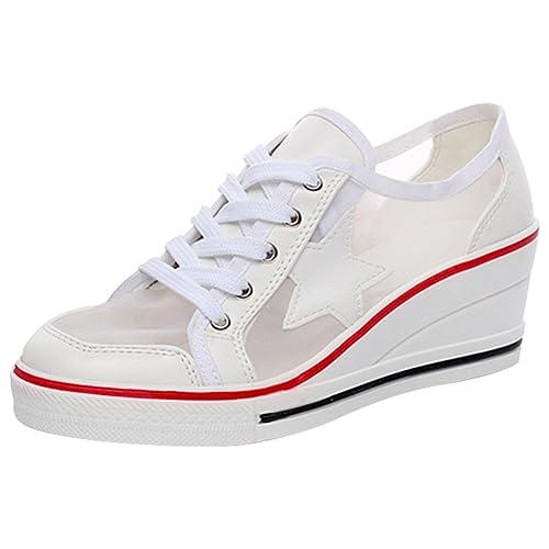 61891aa0d2b4 Mauea Baskets Compensées Femme Mesh Respirant Etoile Sneakers Printemps Eté Chaussures  Décontractées Tennis Mode Confort Grande