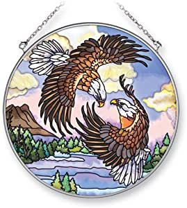 Amia 41308 Pair Of Bald Eagles 6-1/2-inch Circle Sun Catcher, Large