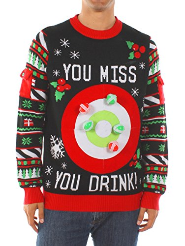 Tipsy Elves Men's Drinking Game Christmas Sweater: Large Black]()