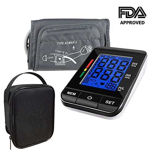 Automatic Digital Arm (Blood Pressure Monitor,KUMEDA FDA Approved Automatic Digital Upper Arm Style Blood Monitor with Gray Cuff(fits Standard and Large Arms)and Included Carrying Case)